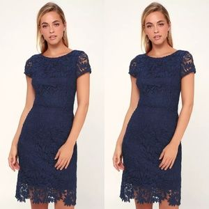 NWT lulu's navy crochet short sleeve dress m